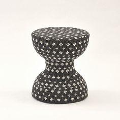 Black & White Wood Beads Stool