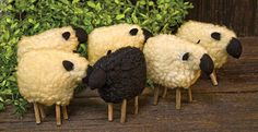 New Primitive Country Folk Art Set of 6 White Black WOOLY SHEEP Shelf Sitter  #Country