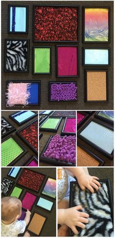 Sensory Sunday - Touchy Feely Frames using old plastic picture frames. Add some different textures (bubble wrap, faux fur, textured place mats, fabric, ribbon) and let your little one explore! Perfect for babies and toddlers for some sensory play.