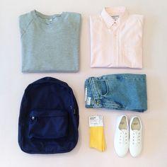 """""""모두가 부러워할 새 학기 코디. What's on your back to school shopping list? #AmericanApparel #데일리룩"""""""