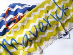 Personalized Baby Blanket Chevron via Etsy.