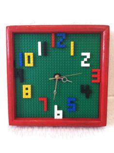 Unique Kids Wall Clock - Building Blocks - Playroom Wall - Kids Decor - Nursery Room - Kids Birthday Gift - Analog Clock - Nontoxic Paint on Etsy, Lego Bedroom, Kids Bedroom, Bedroom Decor, Bedroom Furniture, Nursery Room, Boy Room, Room Kids, Nursery Decor, Legos