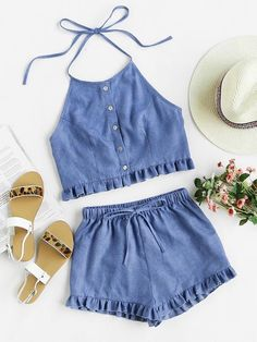 chambray two piece outfit + brown sandals