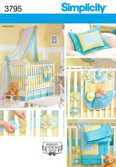 Simplicity 3795 Home Decorating  Has cute velcro flower straps for bumper  Nursery: Quilt, Bumpers, Sheet, Dust Ruffle, Pillow, Organizer, Canopy and Tie-Backs