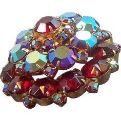 Vintage Dimensional Layered Round Red Aurora Rhinestones Brooch. found at www.rubylane.com #vintagebeginshere