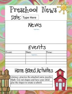 This is a set of 36 preschool newsletter templates that include home activity math and literacy ideas and one page has a science idea. They are saved as a pdf.