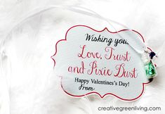 """Free printable """"Love, Trust and Pixie Dust"""" tags to go with homemade pixie necklaces - or on their own. Link goes to tutorial for pixie dust necklaces as well."""