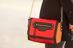 Colorblocked satchels.