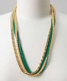 Love this Silver & Green Fade Multi-Strand Necklace on #zulily! #zulilyfinds