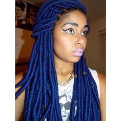 Blue yarn dreads
