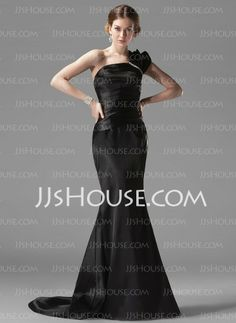 Evening Dresses - $112.99 - Mermaid One-Shoulder Court Train Charmeuse Evening Dresses With Ruffle  Beading (017002536) http://jjshouse.com/Mermaid-One-shoulder-Court-Train-Charmeuse-Evening-Dresses-With-Ruffle--Beading-017002536-g2536