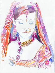 Red Pink - colorful wall art watercolor prints paintings modern bohemian home room decor Indian girl women in saris Rajasthan- silverridgestudio etsy 02