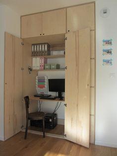 plywood wardrobe desk hide by moadesign Apartment Furniture Layout, Home Office Furniture Desk, Vintage Bedroom Furniture, Furniture Sofa Set, Modular Furniture, Living Furniture, Plywood Furniture, Apartment Design, Furniture Design