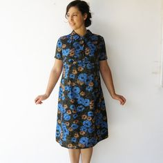 Vintage 60s Floral Dress / Silk Dress / Size L by rakshniyavintage