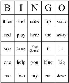 great way to learn sight words . . . use cheerios, skittles or other candies as bingo markers for added fun.
