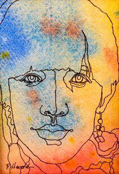 THE FASHION MODEL - An Original Artwork - Ink Drawing on Abstract Watercolor Painting - One Continuous Contour Line of a Face. $45.00, via Etsy.