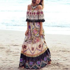 Sex Off-Shoulder Flower Print Vacation Maxi Dress off shoulder dress off shoulder dress casual off shoulder dress summer off shoulder dress pattern Maxi Shirt Dress, Maxi Dress With Sleeves, Floral Maxi Dress, Boho Dress, Half Sleeves, Short Sleeves, Bodycon Dress, Mode Xl, Backless Maxi Dresses