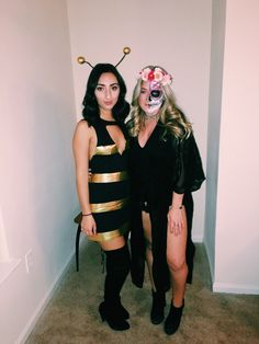 Halloween costume idea halloweek halloweekend girl ideas face paint sugar skull easy fun bumblebee bee