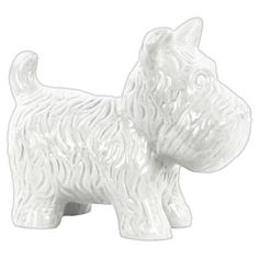 Urban Trends Collection: Ceramic Dog Figurine, Gloss Finish, Turquoise, White