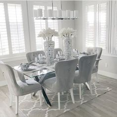 DIY Inspiring Modern Dining Room Designs Idea Storage Sheds – The Un-Clutter Solution Article Bo Dining Room Table Decor, Country Dining Rooms, Elegant Dining Room, Luxury Dining Room, Dining Room Design, Living Room Decor, Dining Area, Glass Dining Table, Grey Dining Room Chairs