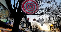 One of the lovely things I noticed before it got too dark were these gorgeous crocheted mandala hanging from a tree. Sunday Photos, Photo Link, Circle Shape, Before Christmas, Lovely Things, Christmas Lights, Coloring Books, Mandala, Meditation