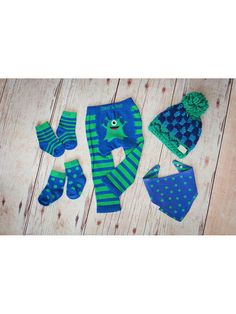 Durable baby leggings for your little monster Another great design from the British baby legging designer Blade and Rose. These jelly bean green and blue striped baby leggings feature a monster on the bottom.