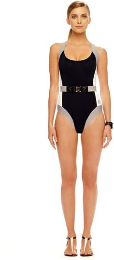 Color-blocked black and white belted swimsuit