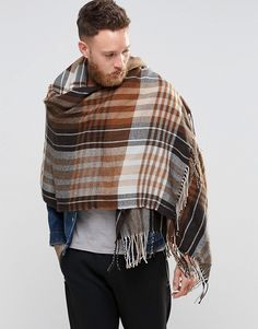 ASOS Checked Blanket Scarf In Brown