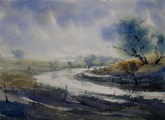Foggy Morning - Painting by Jiaur Rahman in Watercolor Art at touchtalent 33223