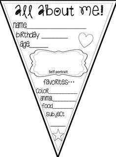 All About Me Printable Pennant Banners Back to by RockonFirst