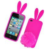 Bunny Skin Case With Furry Tail for Apple iPhone 4 (Verizon & AT), Hot Pink $0.01