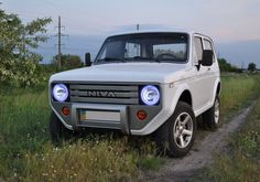 Russian car Niva with weird tuning
