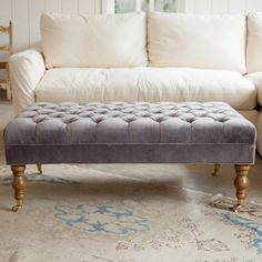 """""""Liliput"""" long tufted ottoman in pale lilac purple from Shabby Chic Couture by Rachel Ashwell."""