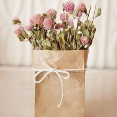 DIY Wedding Table Decoration Ideas - Paper Bag Vase - Click Pic for 46 Easy DIY Wedding Decorations