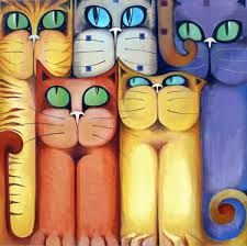 Risultati immagini per karina chavin pinturas Cool Paintings, Cool Artwork, Crazy Cat Lady, Crazy Cats, Cat Character, Doodle Patterns, Cat Colors, Crafts To Make And Sell, Cat Drawing