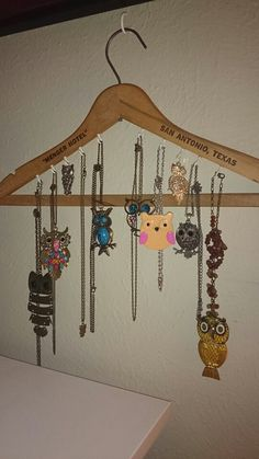 I copied this from another pin. I already had some cool old hotel hangers and was looking for a better solution for my owl collection. LMK 8/3/14