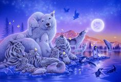 """Song of the Moon"" Polar Bears, White Tigers, Earless Seals, Snow Leopards, Wolves, Magellanic Penguins, Emperor Penguins, Humpback Whale, Ald eagles  - Art of Kentaro Nishino"