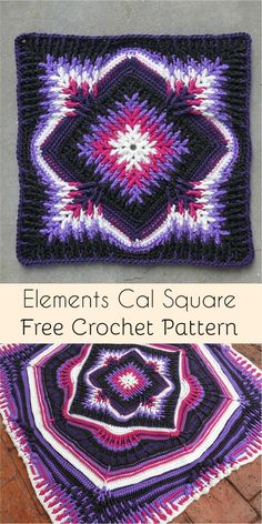 Elements Cal Square for Blankets, Pillows, Centrepieces [Free Crochet Pattern] #crochet #crochetlove #crochetaddict #square #crochetsquares