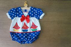 Vintage Baby Clothes Baby Girl Sailor Blue Big by DearKaleidoscope, $18.50