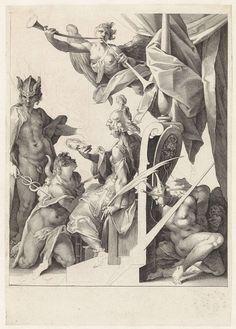 Mercurius leidt jonge kunstenaars naar Minerva, Jan Harmensz. Muller, Bartholomeus Spranger, 1592