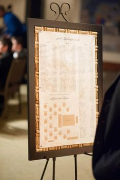 Seating chart pinned on wine cork board