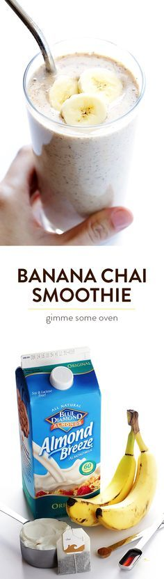 Banana Chai Smoothie -- super easy to make, full of protein, and totally delicious! | gimmesomeoven.com