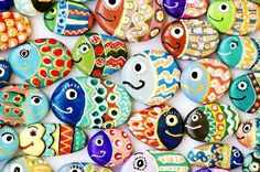 Funny painted acrylic pebbles Stock Photo by alexstand Pebble Painting, Love Painting, Mouse Paint, Happy Rock, Sunday Inspiration, Acrylic Paint Set, Rock Painting Ideas Easy, Sand Crafts, Kindness Rocks