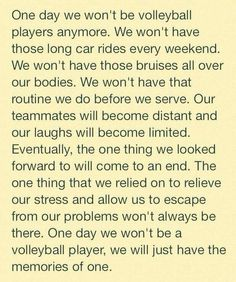 We won't always be a volleyball player