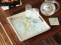 A custom map serving tray is a striking way to pay tribute to a favorite place, anywhere in the U. See how this carefully crafted piece fits in your home. New Home Gifts, Gifts For Mom, Gift Maker, Nautical Pillows, Wood Source, Compass Rose, Flower Tea, Custom Map