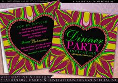 Colourful Bohemian Hippy Love Dinner Party Invitations