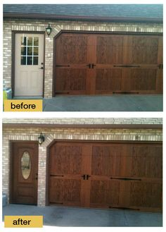 stunning combo wood front door with wood garage door 3 stained
