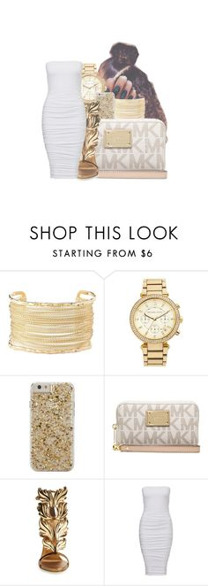 """Gold & White"" by royaltyvoka ❤ liked on Polyvore featuring Charlotte Russe, MICHAEL Michael Kors, Case-Mate, Michael Kors and Giuseppe Zanotti"