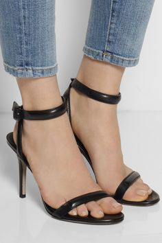 Alexander Wang's black leather 'Antonia' sandals are a wardrobe staple. Heel measures approx 3.5 inches. This single-sole style will work with everything from your favorite jeans to an elegant evening gown.