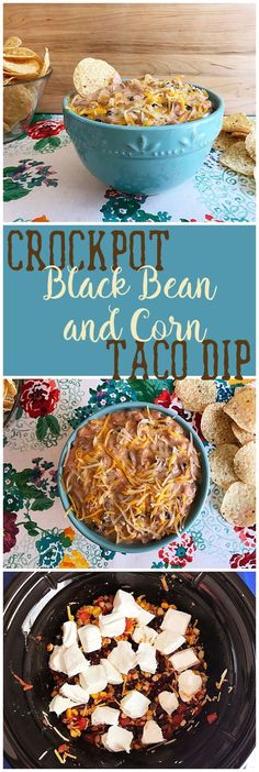 Crock Pot Black Bean and Corn Taco Dip appetizer taco dip crockpot recipe Try this flavor packed appetizer, recipe from Six Clever Sisters. Beans In Crockpot, Crockpot Dishes, Crockpot Recipes, Dip Crockpot, Cooker Recipes, Crock Pot Dips, Crock Pot Tacos, Taco Dip, Slow Cooking